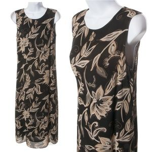 Talbots Black Floral Print Maxi Dress - EUC -  8P